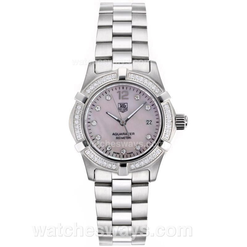 Replik Tag Heuer Aquaracer Swiss ETA Movement Diamond Bezel and Markers with Pink MOP Dial S/S-1 88988