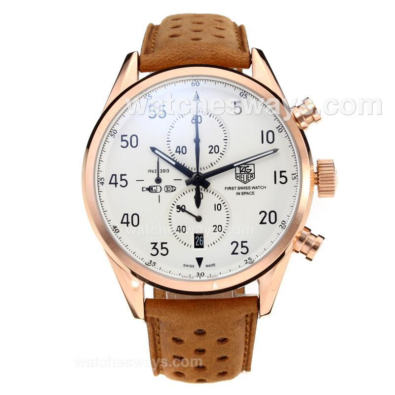 Replik Tag Heuer Working Chronograph Rose Gold Case with White Dial Leather Strap 202660