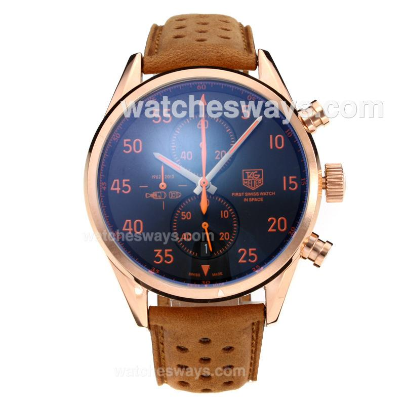 Replik Tag Heuer Working Chronograph Rose Gold Case with Black Dial Leather Strap 202658
