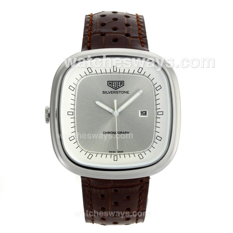 Replik Tag Heuer Silverstone with Silver Dial Brown Leather Strap 103280