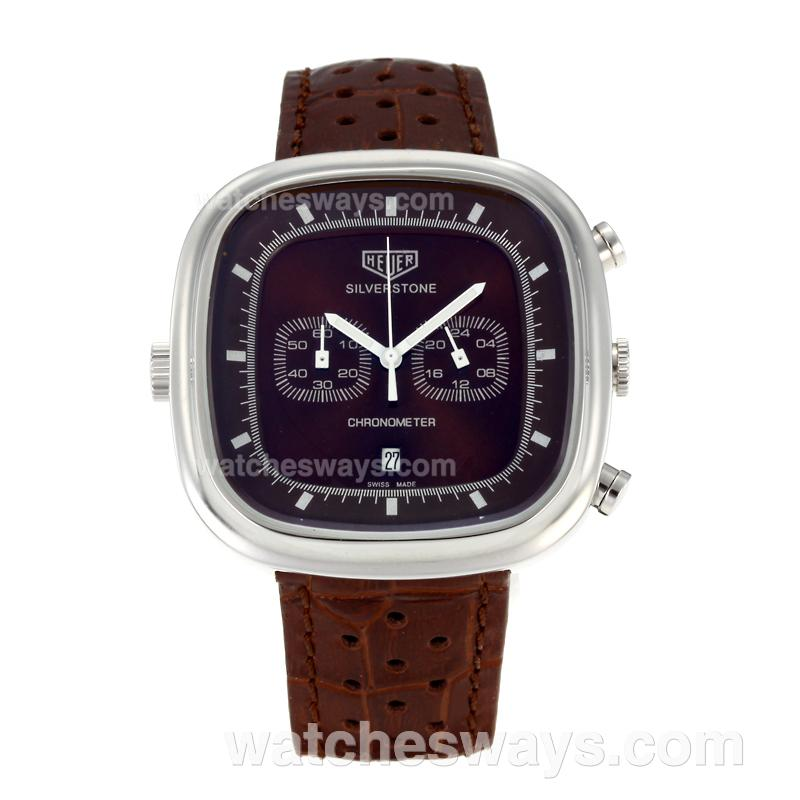 Replik Tag Heuer Silverstone Working Chronograph with Brown Dial Brown Leather Strap 103278