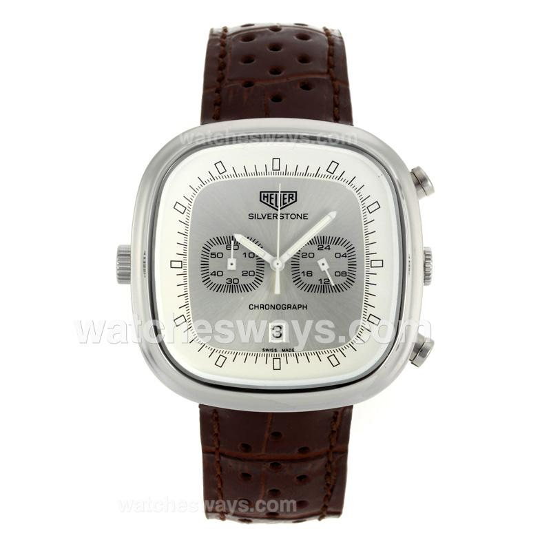 Replik Tag Heuer Silverstone Working Chronograph with Silver Dial Brown Leather Strap 103276