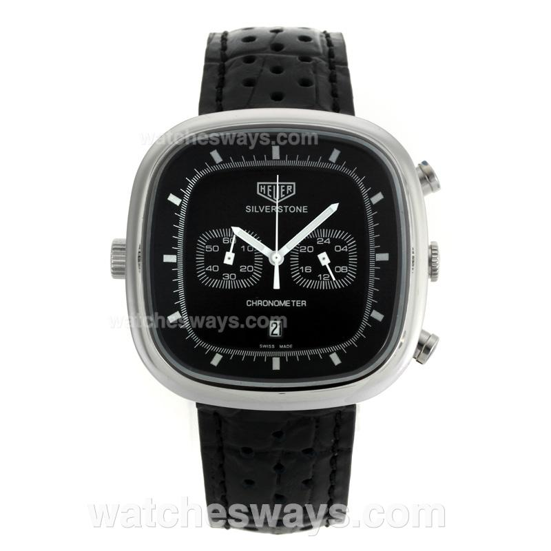 Replik Tag Heuer Silverstone Working Chronograph with Black Dial Black Leather Strap 103274