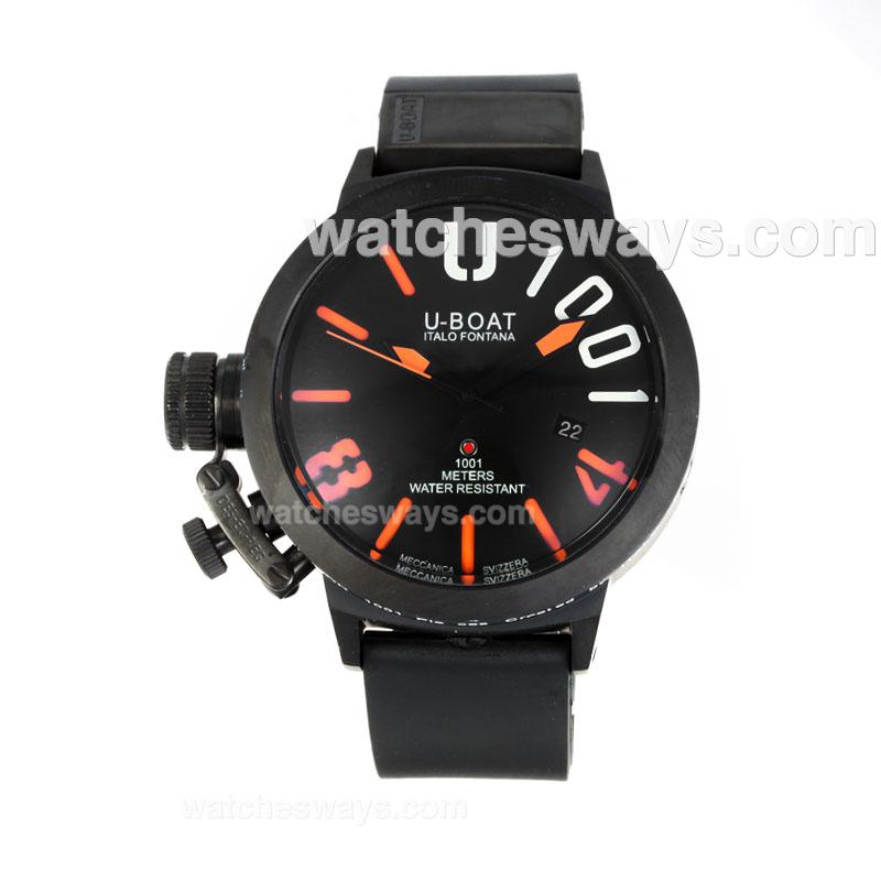 Replik U-Boat Italo Fontana Automatic Full PVD with Black Dial Orange Markers 167094