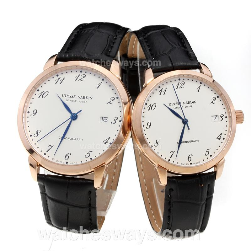 Replik Ulysse Nardin Rose Gold Case Number Markers with White Dial-Black Leather Strap 218086