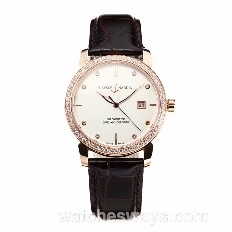 Replik Ulysse Mardin Diamond Bezel Rose Gold Case with White Dial Leather Strap-Sapphire Glass 195228