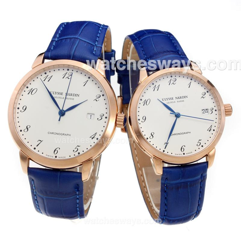 Replik Ulysse Nardin Rose Gold Case Number Markers with White Dial-Blue Leather Strap 218082