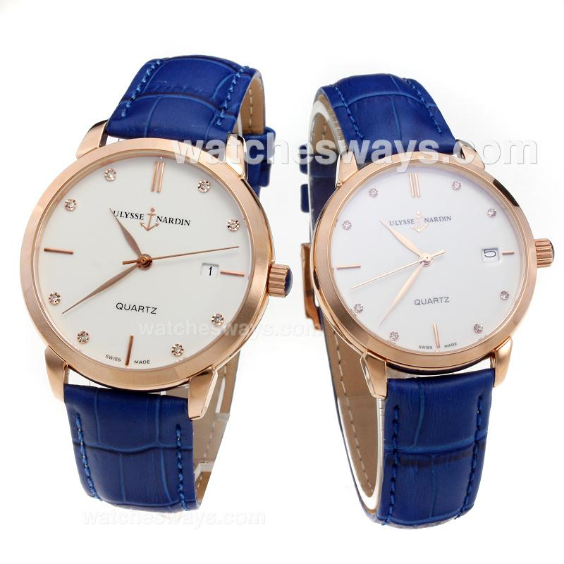 Replik Ulysse Nardin Rose Gold Case Diamond Markers with White Dial-Blue Leather Strap 218080
