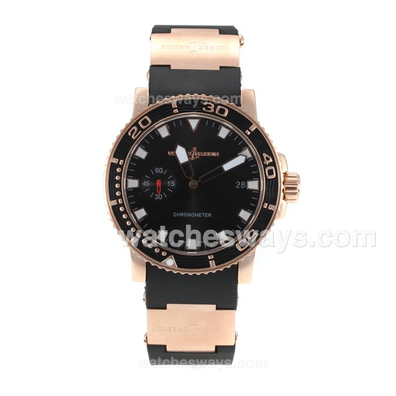 Replik Ulysse Nadin Marine Automatic Rose Gold Case with Black Dial Rubber Strap 171196