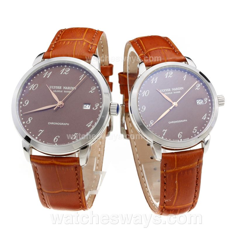 Replik Ulysse Nardin Number Markers with Brown Dial-Brown Leather Strap 218074