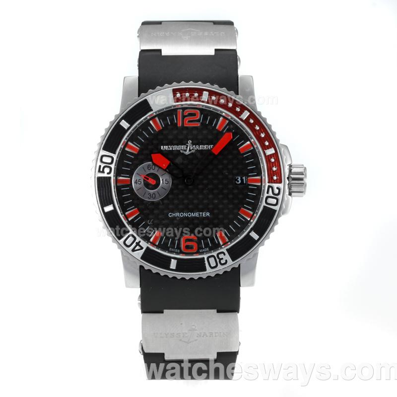 Replik Ulysse Nadin Marine Automatic with Black Dial Rubber Strap 171192