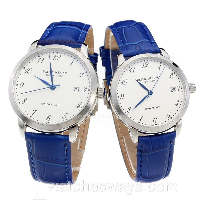 Replik Ulysse Nardin Number Markers with White Dial-Blue Leather Strap 218072