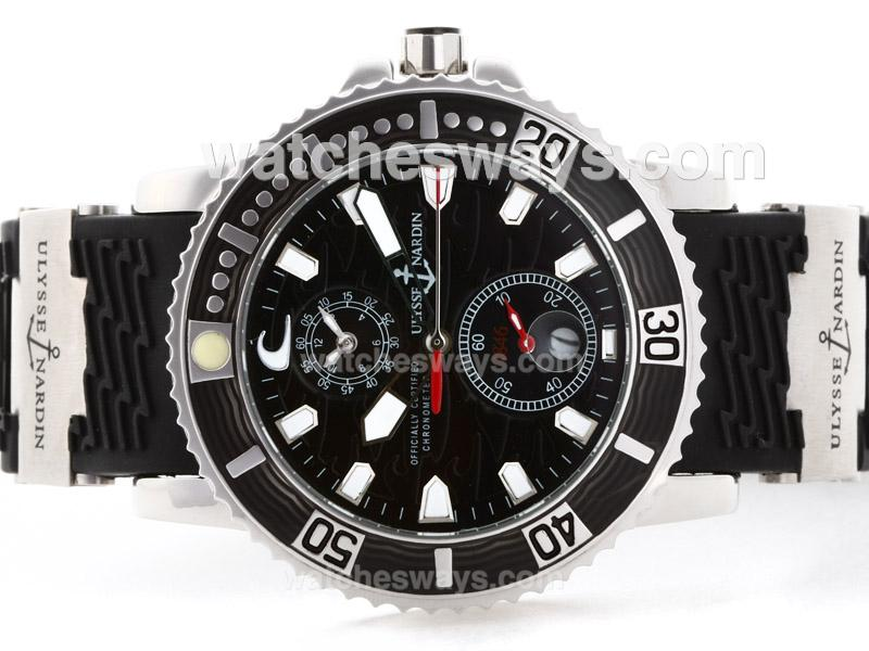 Replik Ulysse Nardin Marine Automatic with Black Dial Rubber Strap-1 35527