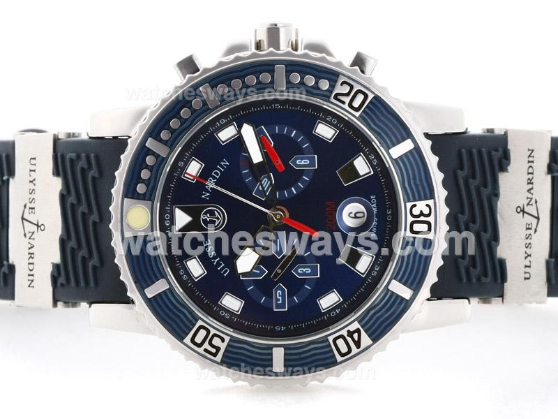 Replik Ulysse Nardin Maxi Marine Diver Automatic with Blue Dial Rubber Strap 35523
