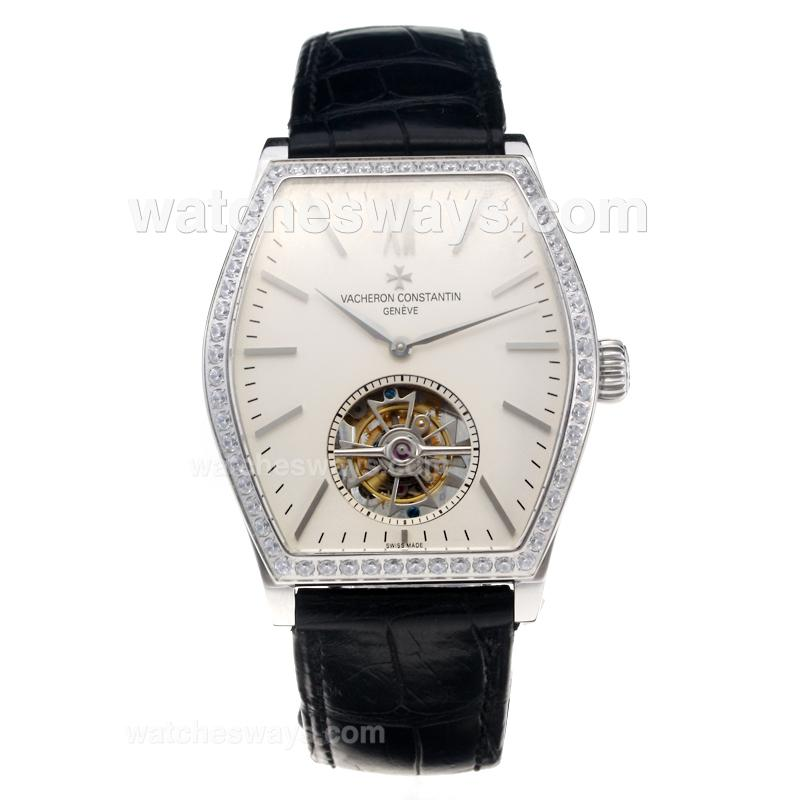 Replik Vacheron Constantin Working Tourbillon Manual Winding Diamond Bezel with Beige Dial-Leather Strap 214830