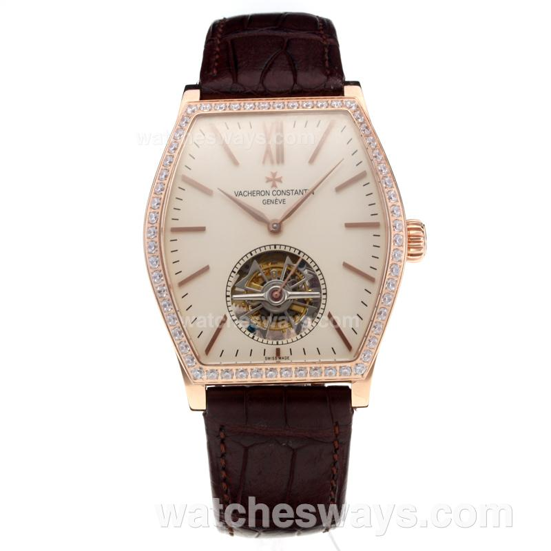 Replik Vacheron Constantin Working Tourbillon Manual Winding Rose Gold Case Diamond Bezel with Beige Dial-Leather Strap 214824