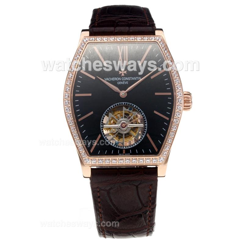 Replik Vacheron Constantin Working Tourbillon Manual Winding Rose Gold Case Diamond Bezel with Black Dial-Leather Strap 214822
