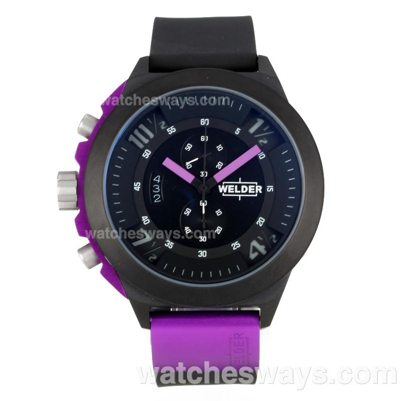 Replik Welder Working Chronograph PVD Case with Black Dial Purple Needle 172834