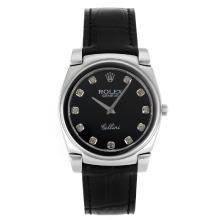 Replique Rolex Cellini index diamants avec bracelet en cuir noir Cadran Noir-20107a