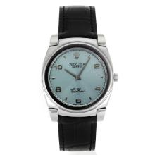 Replik Rolex Cellini Roman Markers with Light Blue Dial-Black Leather Strap 20103