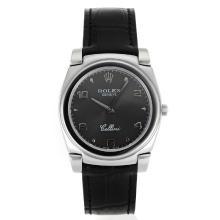 Replique Rolex Cellini Stick / Nombre marqueurs avec bracelet en cuir cadran gris-noir 20101