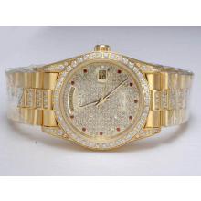 Replique Rolex Day-Date en or entièrement automatique avec lunette sertie de diamants et Dial - Attractive montre Rolex Day Date 22656 pour vous