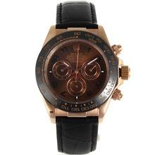 Replique Rolex Daytona automatique Rose lunette en céramique avec boîtier en or Bracelet en cuir brun Cadran Noir-- Attractive Rolex Daytona Montre pour vous 23173