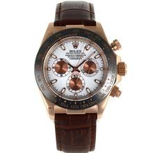 Replique Rolex Daytona automatique Case Rose Lunette Or Céramique avec bracelet en cuir brun cadran blanc-- Attractive Rolex Daytona Montre pour vous 23170