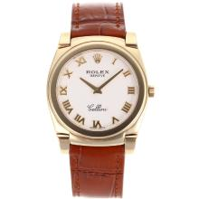 Replik Rolex Cellini Full Gold Case Roman Markers with White Dial-Brown Leather Strap 20098