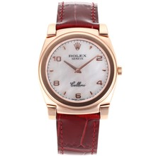 Replik Rolex Cellini Full Rose Gold Case with White Dial-Red Leather Strap 20088