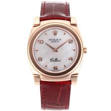 Replique Rolex Cellini complet en or rose avec bracelet en cuir cadran blanc-rouge 20088