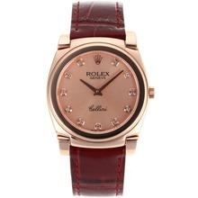 Replique Rolex Cellini Full Rose d'or index diamants avec bracelet en cuir Champagne Dial-Rouge 20160