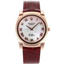 Replique Rolex Cellini Full Rose Marqueurs boîtier en or romaines avec bracelet en cuir MOP cadran blanc-brun 20158