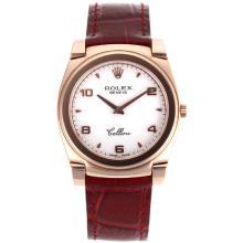 Replique Rolex Cellini Full Rose d'or Nombre de cas / Stick marqueurs avec bracelet en cuir MOP cadran blanc-brun 20157