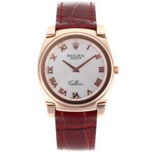 Replique Rolex Cellini Full Rose Marqueurs boîtier en or romaines avec bracelet en cuir brun Cadran Argent-20156
