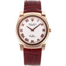 Replique Rolex Cellini Full Rose Marqueurs boîtier en or romaines avec bracelet en cuir brun cadran blanc-20155