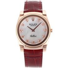 Replique Rolex Cellini Full Rose d'or de diamant marqueurs de cas avec bracelet en cuir blanc MOP Dial-Rouge 20154