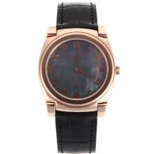 Replique Rolex Cellini Full Rose Marqueurs boîtier en or romaines avec bracelet en cuir MOP cadran noir-noir 20152