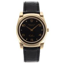 Replik Rolex Cellini Full Gold Case Number/Stick Markers with Black Dial-Black Leather Strap 20137