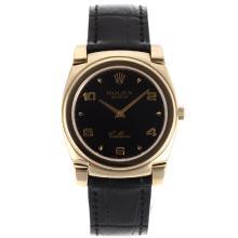 Replique Rolex Cellini pleine d'or Nombre de cas / Stick marqueurs avec bracelet en cuir noir Cadran Noir-20137