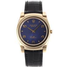 Replique Rolex Cellini pleine d'or Nombre de cas / Stick marqueurs avec bracelet en cuir cadran bleu-noir 20136