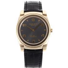 Replique Rolex Cellini pleine d'or Nombre de cas / Stick marqueurs avec bracelet en cuir cadran gris-noir 20135