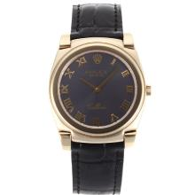 Replique Rolex Cellini or plein de cas Marqueurs romaine avec bracelet en cuir cadran gris-noir 20134