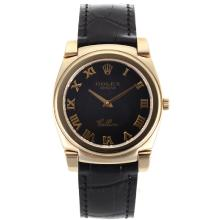 Replik Rolex Cellini Full Gold Case Roman Markers with Black Dial-Black Leather Strap 20133