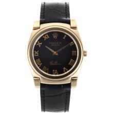 Replique Rolex Cellini or plein de cas marqueurs romaine avec bracelet en cuir noir Cadran Noir-20133