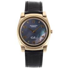 Replique Rolex Cellini pleine d'or Nombre de cas / Stick marqueurs avec MOP Dial Black Leather Strap-Noir 20131
