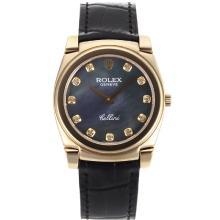 Replique Rolex Cellini marqueurs d'or plein de diamants cas avec bracelet en cuir noir MOP Dial-Noire 20130