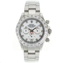 Replique Rolex Daytona Chronographe de travail CZ marqueurs de diamant Diamond Bezel avec cadran blanc Rolex Daytona - Montres attrayant pour vous 23150