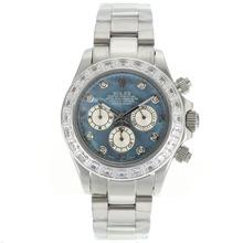 Replique Rolex Daytona Chronographe de travail CZ marqueurs de diamant Diamond Bezel avec cadran bleu Mop - Belle Rolex Daytona Montre pour vous 23149