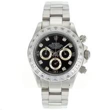 Replique Rolex Daytona Chronographe de travail CZ marqueurs de diamant Diamond Bezel avec cadran noir Rolex Daytona - Montres attrayant pour vous 23148